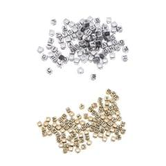 100x Assorted Metallic Acrylic Alphabets Letter Cube Beads Pony Beads Silver