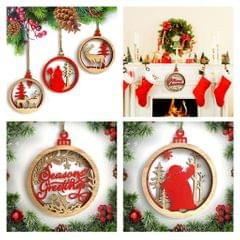 3D Wooden Christmas Ornament Home Party Hanging Decor Snowman