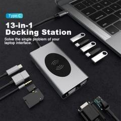 13in1 USB-C Laptop Docking Station Wireless Charger USB3.0 RJ45 for MacBook
