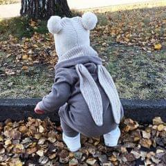 Cotton Big Ear Bunny Zipper Jumpsuit Climbing Clothes Gray (12-18 Months)