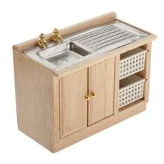 Wooden Kitchen Cupboard Bathroom Wash Basin Cabinet for 1/12 Dollhouse