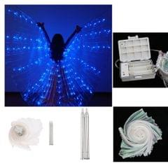 LED Isis Wings Glow Light Up Belly Dance Costumes with Sticks Performance Blue
