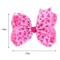 8 Inch Colorful Bow Hairpin Girls Bows with Clip Hair Bows Pink hearts