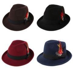 Men Fedora Hat Wool Felt Crushable Handmade Bowknot Feather Cap Coffee
