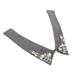 Women Fake Collar Removable False Blouse Crystal Diamonte Collar Houndstooth