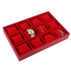 12Grid Velvet Watch Bacelet Jewelry Display Storage Box Case Pillow Red