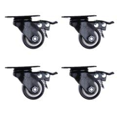 1.5'' Swivel Caster PU Wheels with Brake Lock Universal Replacement
