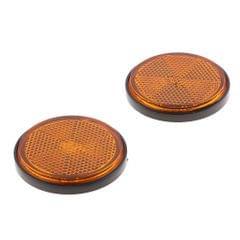 2 Pieces Round Reflectors Universal for Motorcycle ATV Dirt Bike Orange