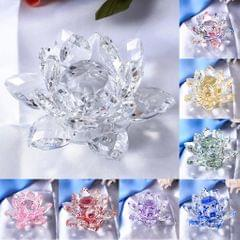 Crystal Lotus Flower Crafts Paperweights Glass Lotus Model Clear
