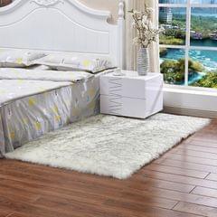 80x50cm Shaggy Sheepskin Rug Soft Non Shed Carpet Rug 5cm Pile White Grey