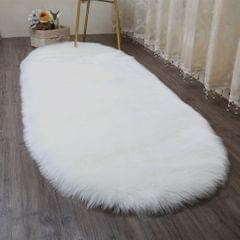 Soft Sheepskin Fluffy Skin Faux Fur Rug Mat Rugs 50x80cm White