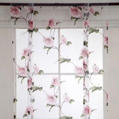 Floral Design Roman Short Window Curtain Sheer Voile #2 Pink 100x160cm