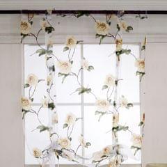 Floral Design Roman Short Window Curtain Sheer Voile #1 Yellow 80x100cm