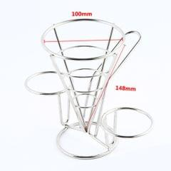 French Fry Holder Stand Cone Rack Snack Basket with 2 Dip Dishes Kitchen