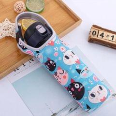 Neoprene Thermal Travel Vacuum Mug Bottle Bag Tote Cover Holder Blue Cat
