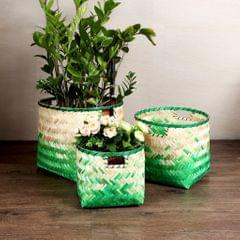 Handmade Bamboo Fiber Weaving Decorative Storage Basket Home Organizer S