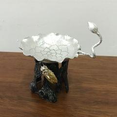 Pure Tin Tea Filter Strainer Leaf Shaped Kung Fu Tea Tool Cicada base
