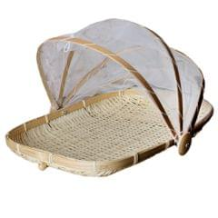 Bamboo Tent Basket Serving Food Outdoor Picnic Pop Up Mesh Net Cover L Rectangle