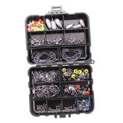 Fishing Accessories Kit set with Tackle Box Pliers Jig Hooks Swivels 160Pcs