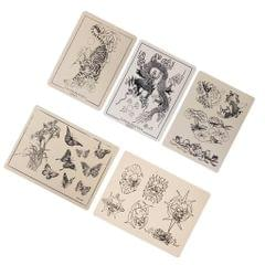 5 x  Patterned Fake Tattoo Practice Skin for Tattoo Machine Needle Supply