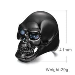 Stainless Steel Men's Skull Head Gothic Punk Biker Finger Ring Black US 8
