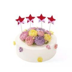 4x Twinkle Twinkle Little Stars Cake Toppers Birthday Cupcake Picks Red