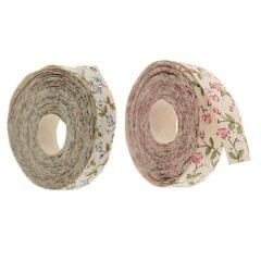 5 Yards Flower Printed Fabric Ribbon Gift Package Craft Wedding Decor Pink