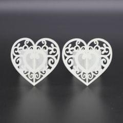 50pcs Heart Paper Napkin Ring Holders Home Wedding Party Table Decor White