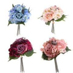 Artificial Flowers Simulation Bride Bouquet Wedding Floral Decor Light Blue