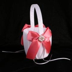 Luxury Satin Bowknot Pearls Flower Girl Basket Wedding Accessory Watermelon