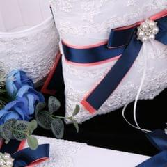 Wedding Bridal Pearls Rhinestone Lace Bowknot Ring Pillow Cushion Bearer