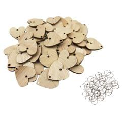 50 Pieces Solid Heart Wooden Grain Chips Circles Discs Board Tags Craft
