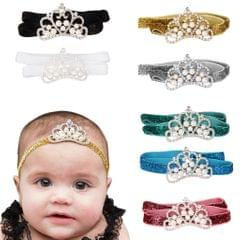 Infant Baby Rhinestone Pearl Crown Hair Bands Photography Headband - Gold