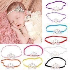 Rhinestone Faux Pearl Crown Baby Girls Headband Hair Band- Red