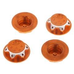 4Pcs Aluminum Wheel Hub Cover 17mm Hex Nut for RC 1/8 Model Car Parts Orange