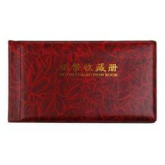 Banknote Currency Collection Album Paper Money Pocket 30 Pages Wine Red