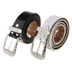 Stylish Leather Bling Rhinestone Crystal Western Cowgirl Belt Waistband White