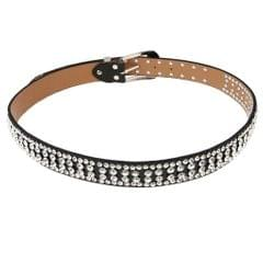 Stylish Leather Bling Rhinestone Crystal Western Cowgirl Belt Waistband Black
