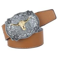 Mens Western Cowboy Leather Belt Waistband Arabesque Cow Head Buckle Brown