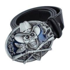 Men's Belts PU Leather Belt Buckle Skull And Snake for Western Cowboy  Black
