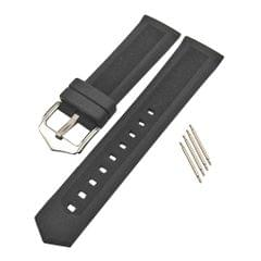 High Quality Silicone Rubber Sport Replacement Watch Band Strap Black 21mm