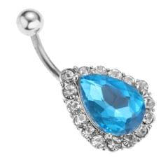 Chic Women Stainless Steel Crystal Water Drop Belly Button Ring Navel Blue