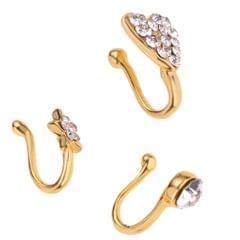 3 Pcs Charm Women Flower Heart Pentagram Crystal Metal Nose Ring Gold