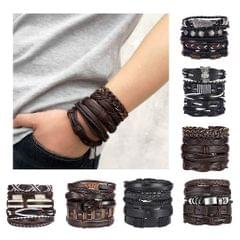 Retro Style Leather Woven Cuff Bracelet Adjustable Bracelet 5pcs Leaf
