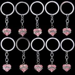 Pink Crystal Rhinestone Heart Pendant Keyring Keychain Key Chain-best friend