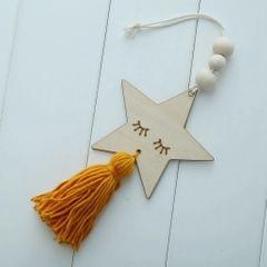 Nordic Wooden Beads Tassel Pendant Girls Wall Hanging Ornament Star Yellow
