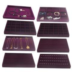 Ring Earrings Necklace Jewelry Display Organizer Box Tray Showcase Purple 1