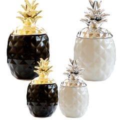 Display Nordic Style Pineapple Shape Multi-Use Storage Jar Ornament Black L