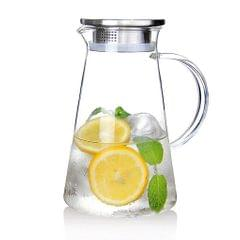 Glass Pitcher with Spout for Hot / Cold Water Tea 2.0L Pitcher