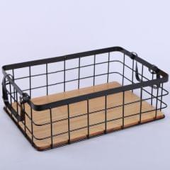 Dual Ear Rectangular Kitchen Storage Iron Basket Wood Bottom Fruit Basket M